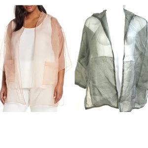 MSRP$258 Eileen Fisher silk organza hood jacket NW